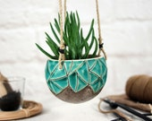 Modern hanging planter pottery ceramic planter with jute cord indoor outdoor succulent pot air planter housewarming gift