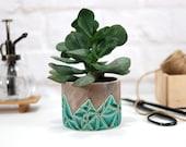 Mini turkish turquiose planter pot ceramic planter for succulent, cactus, air plants terrarium indoor garden modern home decor