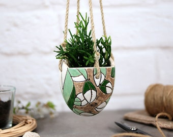 Beautiful flower style hanging planter indoor / handmade - ceramic plant pot for cactus, succulent, air plant - indoor & outdoor boho decor
