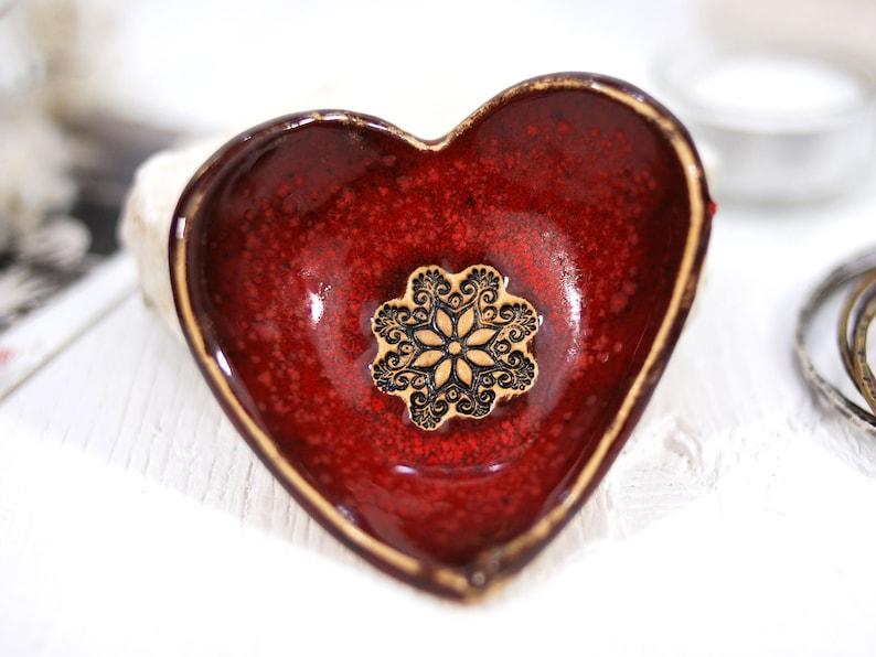 trinket dish ring holder red bowl pottery bowl ring dish jewelry dish Ceramic small bowl decorative bowl ceramic dish heart bowl