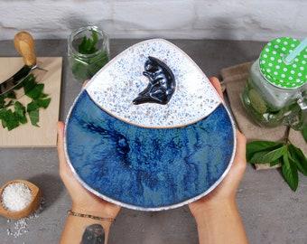 Ceramic bowl, serving bowl, serving dish, handmade bowl, ceramic dish, pottery bowl, kitchen bowl, decorative bowl, ceramic ware, cat gift