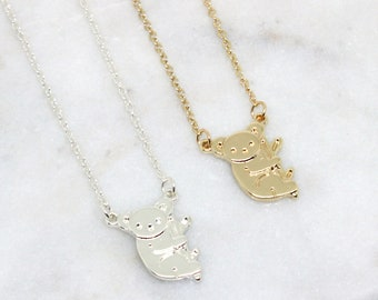 KIKI|| Cute Koala Necklace in Gold or Silver- Cable Chain Animal Pendant- Statement Short Necklace- Animal Jewelry- Charm Necklace- Long