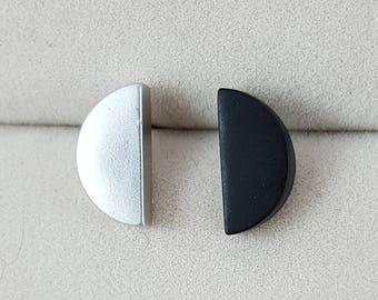 Simple Two Tone Geometric Circle Earrings, Minimlist, Black, Gold, Silver, Brushed, Mixed Color, Half Moon