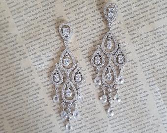 Bridal Earrings, Swarovski Crystal Earrings, Wedding Earrings, Chandelier Earrings, Clip On Earrings ,925 Sterling Silver , Bridal Jewelry