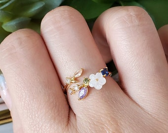 floral unique delicate rings gift for her floral flowers Jewelry Iris flower ring