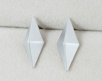 Simple 3D Geometric Rhombus Earrings, Minimlist, Gold, Silver, Brushed