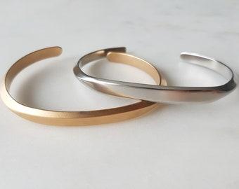 bfb6b0057b2 Simple Geometric Flat Front Cuff Bracelet, Gunmetal, Gold, Silver, Rose  Gold, Modern, Minimalist, Fully Adjustable, Brass, Causal, Stack