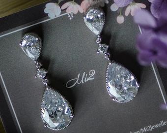 e90d4dbed Drop Earrings, Bridal Earrings, Cubic Zirconia Earrings, Wedding Earrings,  Grad Jewelry, Party Jewelry, Bridal Jewelry, Prom Jewelry