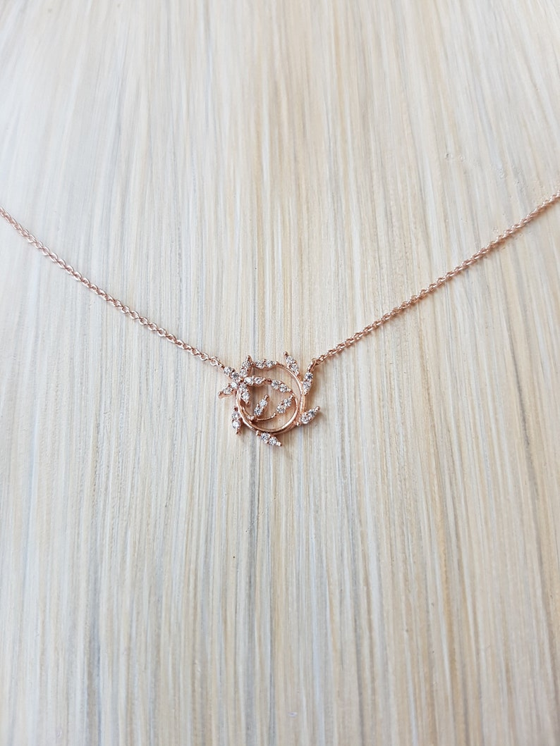 Simple Dainty Leaf Wealth Wrap Necklace Rose Gold Jewelry image 0