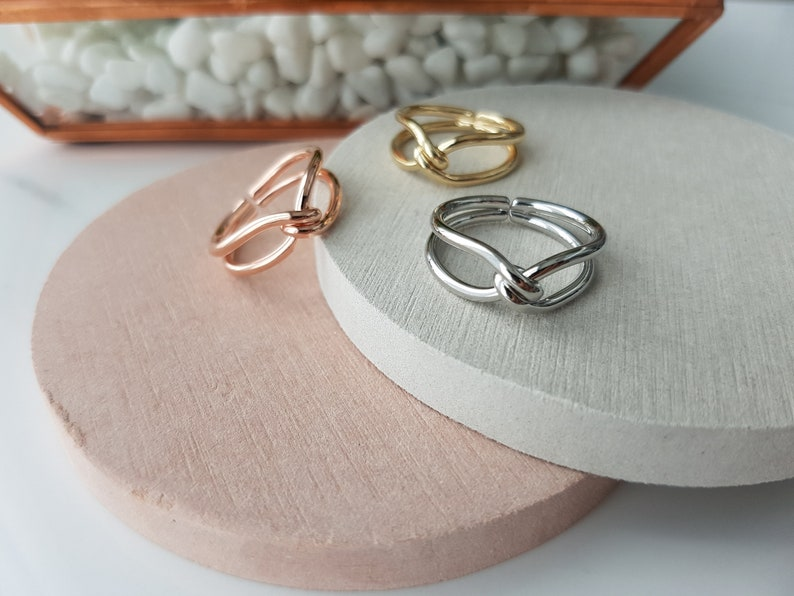 14k Gold Rhodium Plated Silver Rose Gold Twist Knot Adjustable Metal Brass Ring Rings For Women Layering Ring Gold Plated Rings for her