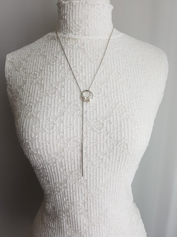 Simple Double Hoop Rings and Bar Lariat Style Long Necklace, Silver or Gold Rhodium Minimalist Necklace, Gifts for her, Woman Necklaces