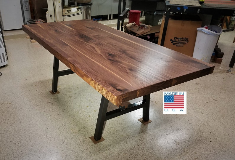 Black Walnut Dining Table With Steel Base// Pub, Coffee, Kitchen, Island,  Conference, Dining, Breakfast