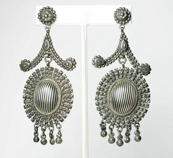 Victorian Cut Steel Chandelier Drop Earrings