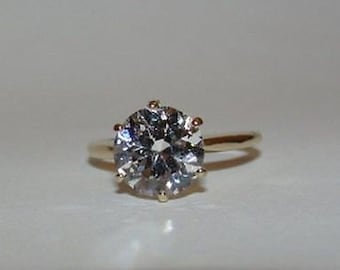 14 kt Gold CZ Cubic Zirconia Round Solitaire Ring