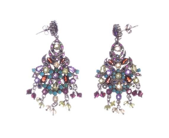 Multi Gemstone Sterling Silver Chandelier Earrings