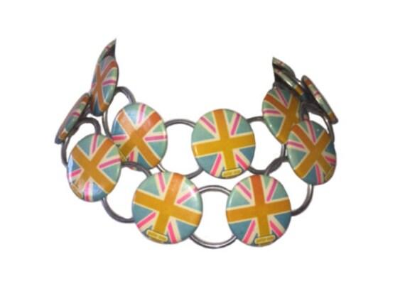 Rare Runway Peter Max Pastel British Flag Button N