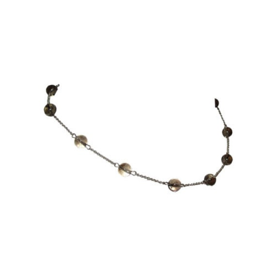 Smoky Quartz Sterling Pools of Light Bead Necklace - image 2