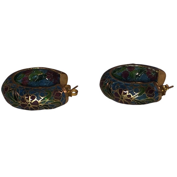 Chinese Cloisonne Hoop Statement Earrings - image 4