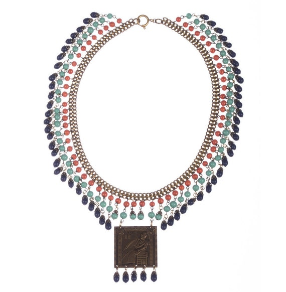 Egyptian Revival Brass and Venetian Glass Bead Nec