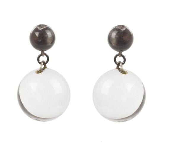 Art Deco Pools of Light Dangle Ball Earrings - image 3
