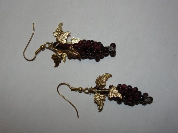 Bohemian Garnet Bead Grape Cluster and Brass Leaf