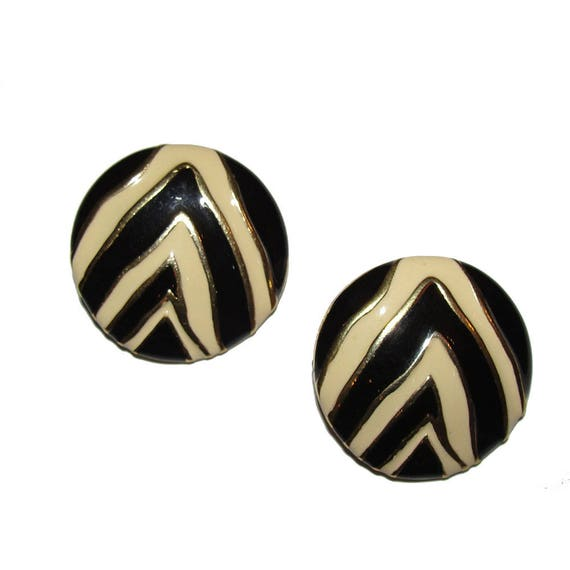 Givenchy Zebra Print Enamel Disc Earrings - image 2