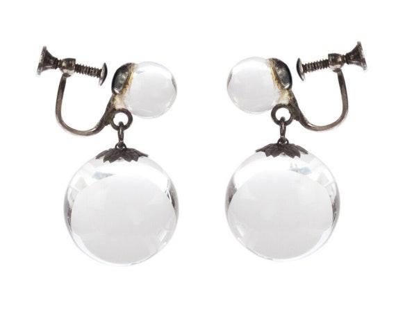 Art Deco Pools of Light Dangle Ball Earrings - image 1