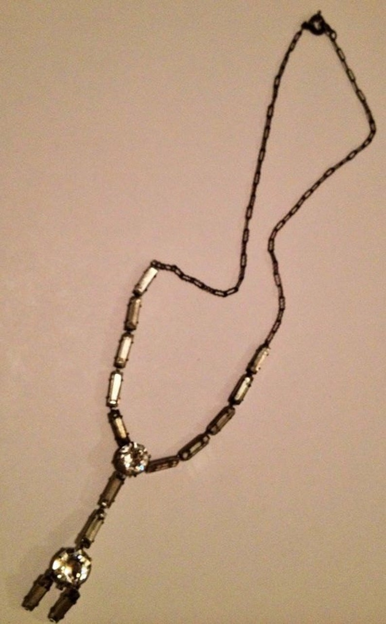 Art Deco Sterling Silver French Paste Necklace