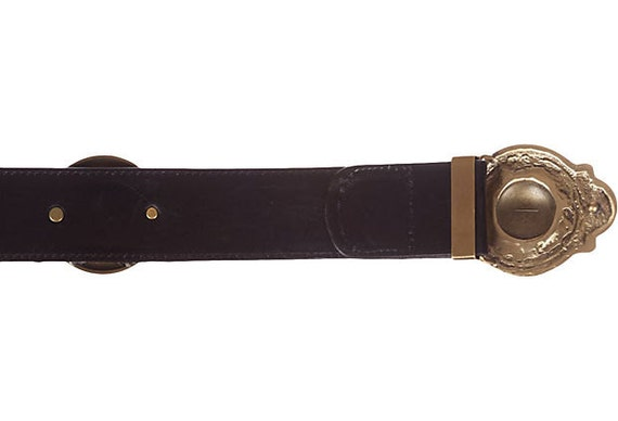 Versace Medusa Zebra-Print Leather Belt - image 5