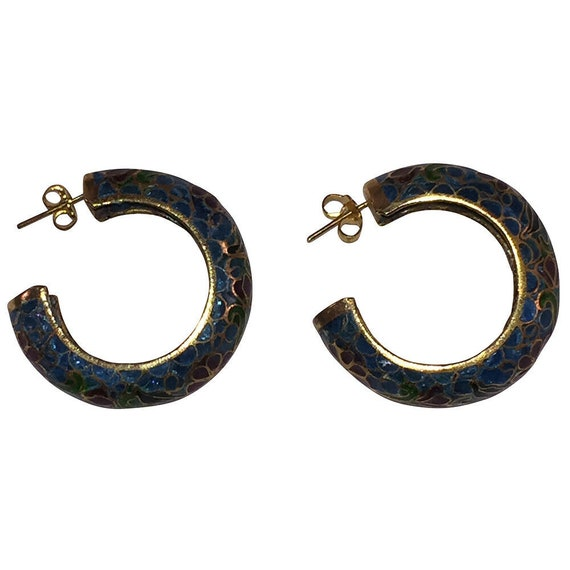Chinese Cloisonne Hoop Statement Earrings - image 5