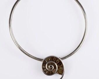 Ammonite Pendant Collar Necklace