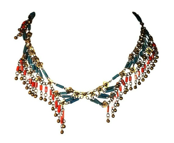 Egyptian Revival Asymmetrical Red Coral Brass Faie