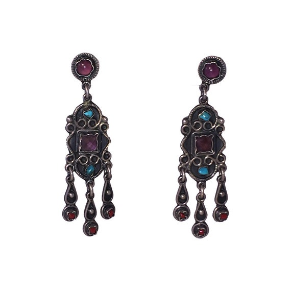 Mexican Sterling Silver Gemstone Chandelier Dangle