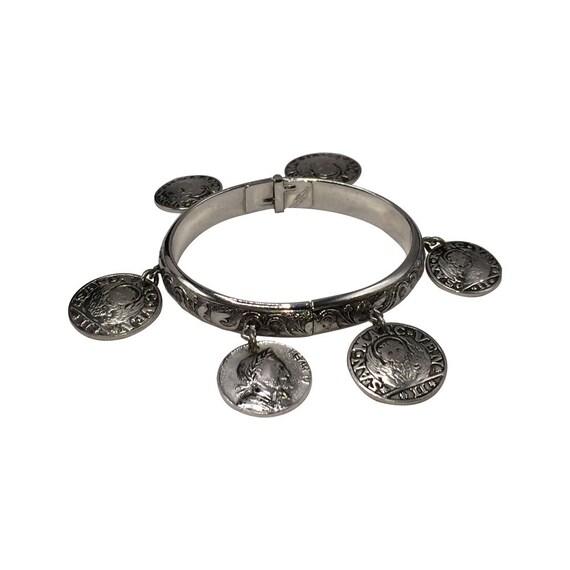 Whiting and Davis Coin Dangle Bangle Bracelet