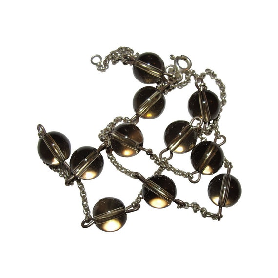 Smoky Quartz Sterling Pools of Light Bead Necklace - image 5