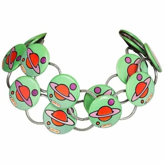 Rare Runway Peter Max Saturn Button Necklace Belt