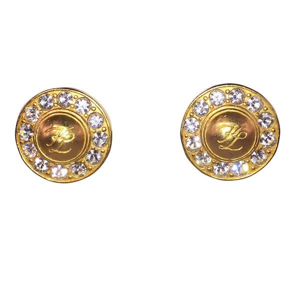 Karl Lagerfeld Rhinestone Monogram Earrings