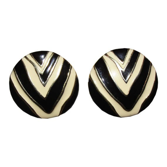 Givenchy Zebra Print Enamel Disc Earrings - image 1