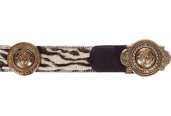 Versace Medusa Zebra-Print Leather Belt - image 4