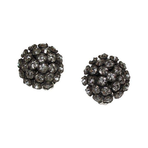 Miriam Haskell Dome Clear Rhinestone Earrings