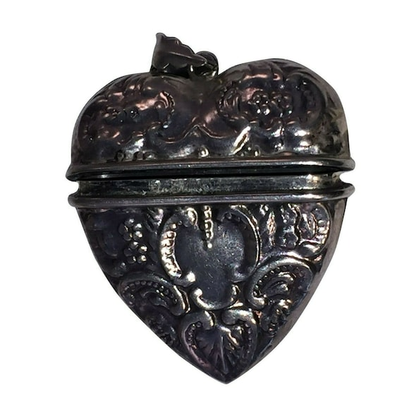 Victorian Sterling Silver Ornate Heart Locket