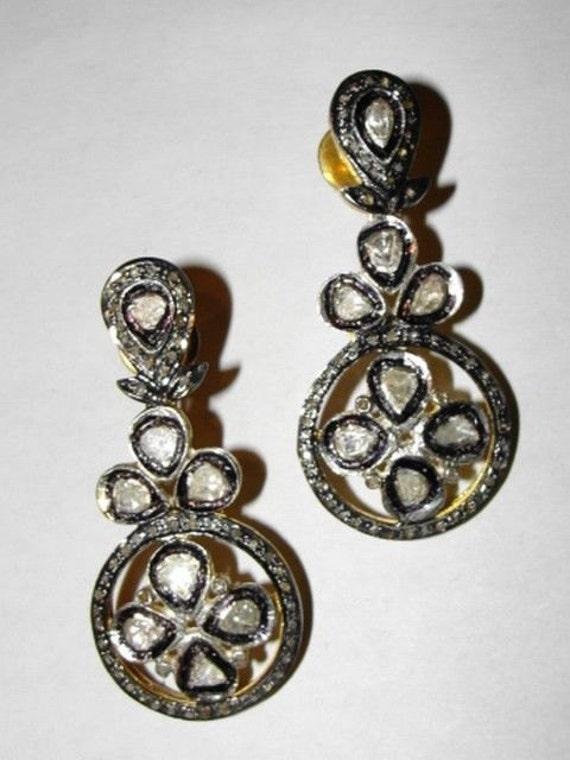 Victorian Style Rose Cut Diamond Chandelier Earrin