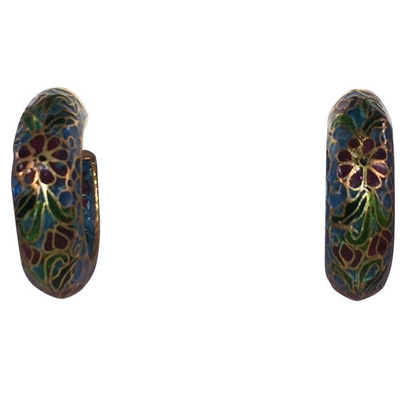 Chinese Cloisonne Hoop Statement Earrings - image 2