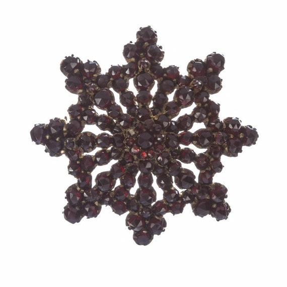 Victorian Star Bohemian Garnet Pin Brooch