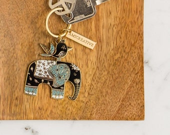 Old Friends - Elephant & Bird Hard Enamel Keychain