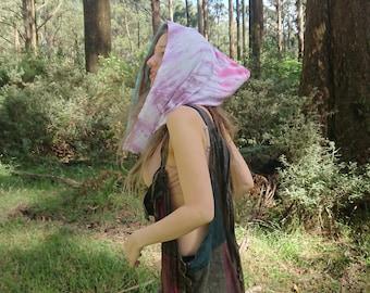 Tie Dye Festival Hood, Hippie Hood, Doof Hood, Rave Hood, Psychedelic, Faerie Hood, Gypsy Hood, Pointed Hood, Meditation Hood, Boho Hood