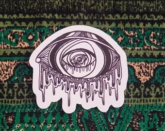 Trippy Eye Sticker, Psychedelic Eye Sticker, Melting Eye Sticker, Third Eye, Eyeball, Sticker Bomb, Skateboard Sticker, Vinyl Sticker