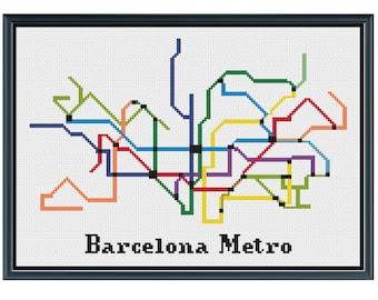 Barcelona Metro Cross Stitch Pattern - Spain Subway Map Pattern - Metro Map Pattern - Home Decor - PDF Instant Download