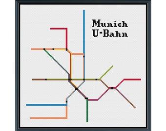 Munich U-Bahn Cross Stitch Pattern - Germany Subway Map Pattern - Metro Map Pattern - Home Decor - PDF Instant Download