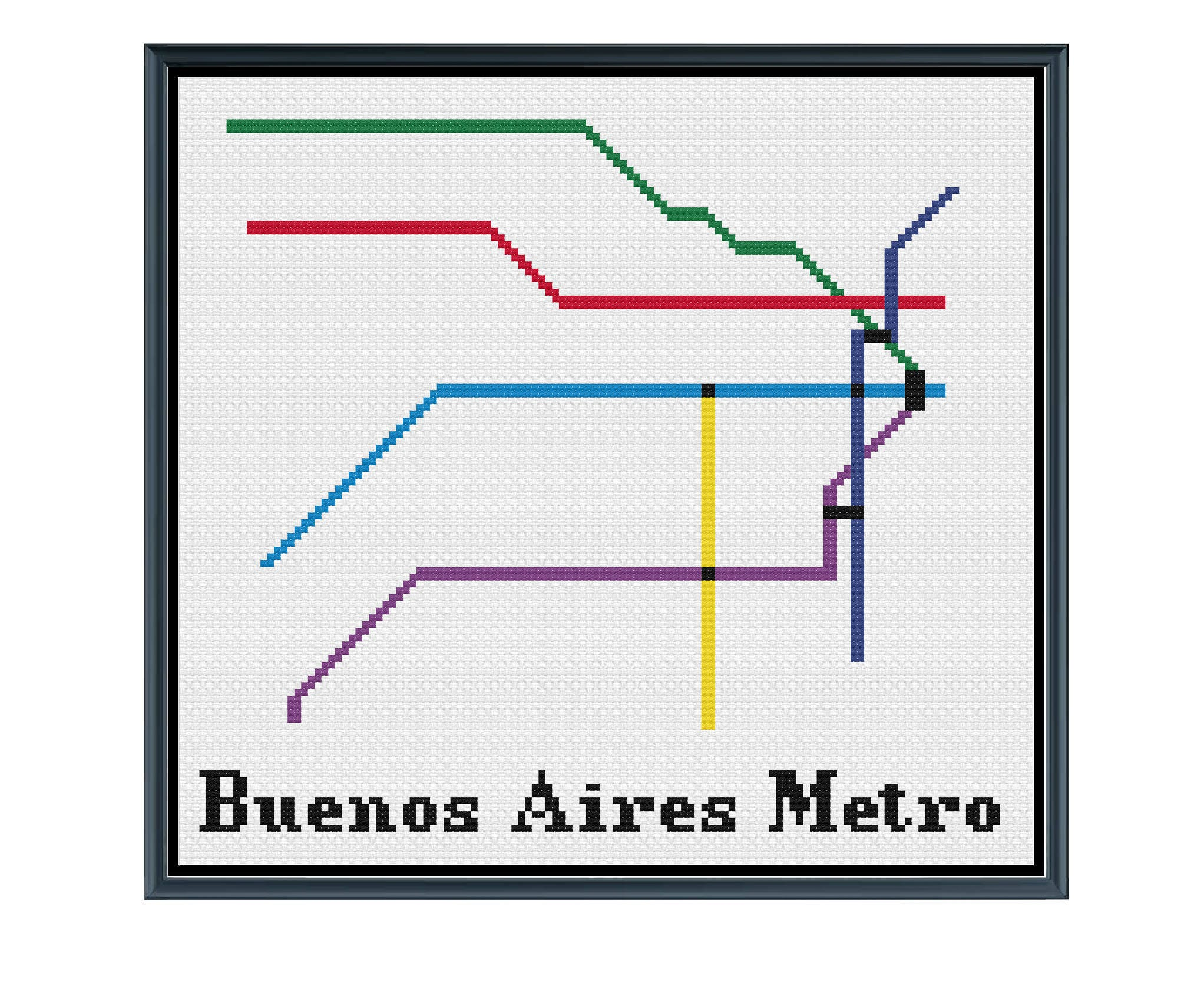 Argentina Subway Map.Buenos Aires Metro Cross Stitch Pattern Argentina Subway Map Pattern Metro Map Pattern Home Decor Pdf Instant Download